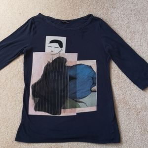 Zara half sleeve lady print T